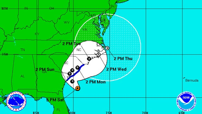 Tropical Storm Bonnie's five-day outlook as calculated on Saturday, May 28, 2016.