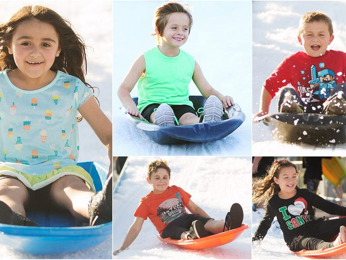 Hundreds of kids went sledding at the Holiday Festival