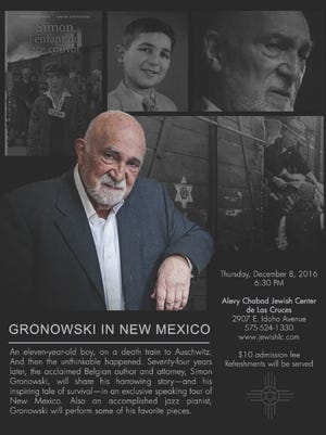 Author and Holocaust survivor Simon Gronowski will stop at Alevy Chabad Jewish Center in Las Cruces Thursday as part of a speaking tour.