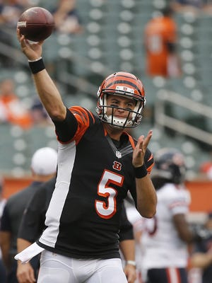 Cincinnati Bengals quarterback AJ McCarron (5) throws a pass during warm ups before the NFL preseason game between the Cincinnati Bengals and Chicago Bears.