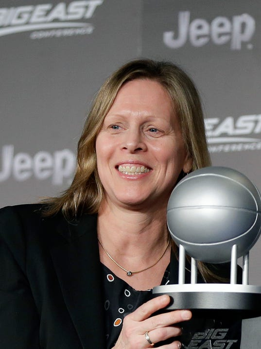 FILE - In this March 9, 2016, file photo, Big East Conference Commissioner Val Ackerman smiles during a press conference in New York. The Big East Conference extended the contact of Commissioner Val Ackerman through June 2021. The league announced the three-year extension on Tuesday, March 13, 2018, three days after the conference played its men's basketball tournament at Madison Square Garden for the 36th consecutive year.(AP Photo/Julie Jacobson, File)
