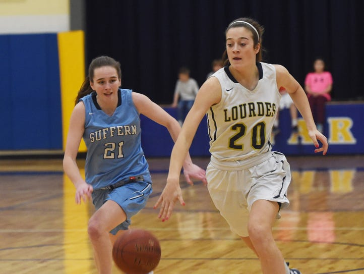 Lourdes' Maddy Siegrist leads a fast break during a