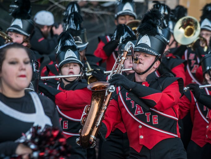The Sound of the Natural State marching band performed