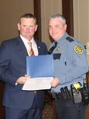 Montgomery County Mayor Jim Durrett presents a Lifesaver