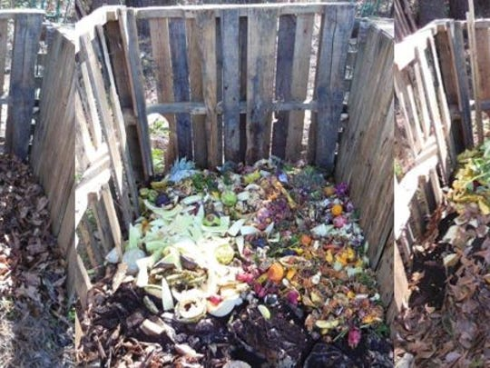 Layer carbon and nitrogen rich materials when building a compost pile.