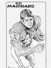 "A McGill drawing of Ed Marinaro in 1975. Marinaro, the ""Hill Street Blues"" TV star was a New Milford athlete of the week and college football star at Cornell."