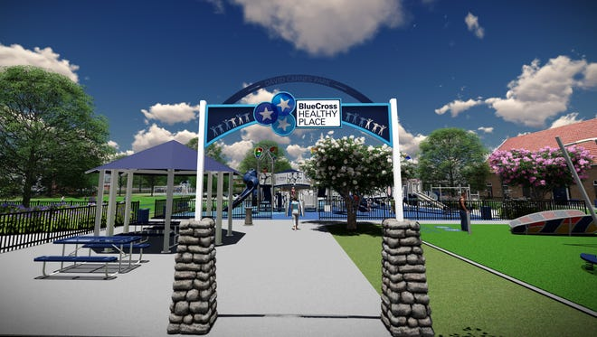An artist's rendering shows how David Carnes Park in Whitehaven could look after a $5.4 million investment by the nonprofit philanthropic arm of BlueCross BlueShield of Tennessee.