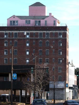 The Old Penn Hotel with the pink penthouse on top  is shown here in 2004.
