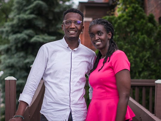 Burundian refugees and Freedom House alums Hamissi Mamba, left, and Nadia Nijimbere are opening the East African restaurant Baobab Fare in Detroit's New Center neighborhood in 2019.