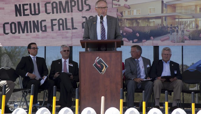 Retiring SWATC President Dana Miller gives a speech during the groundbreaking of the college's new facility on Thursday. Former Southwest Applied Technology College President Dana Miller gives a speech during the groundbreaking of their new facility in 2014.