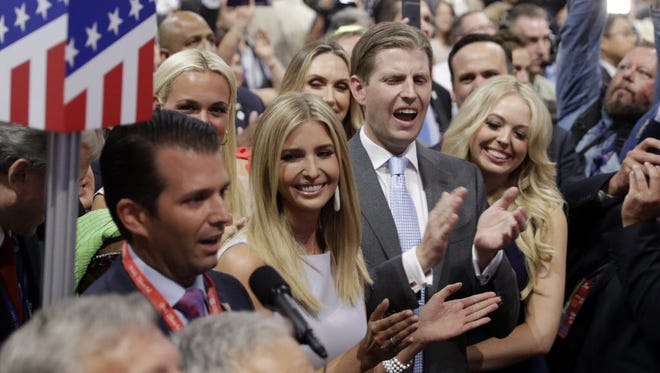 Donald Trump, Jr., Ivanka Trump, Eric Trump and Tiffany Trump on the floor at the Republican National Convention, Cleveland, July 19, 2016.