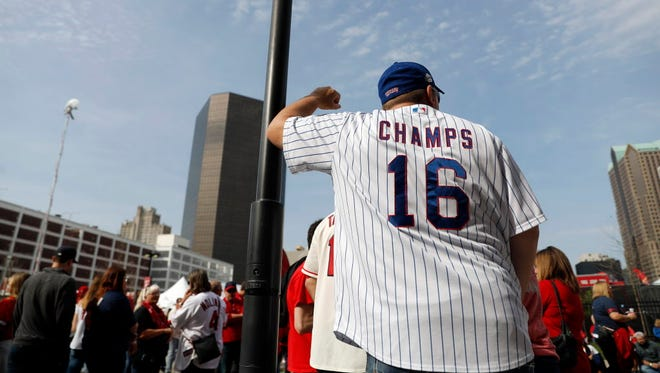 A Chicago Cubs prepares to enter Busch Stadium prior to the season opener against the St. Louis Cardinals.