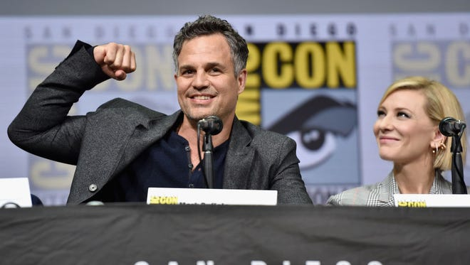 Actor Mark Ruffalo (L) and Cate Blanchett from Marvel Studios' 'Thor: Ragnarok' at the San Diego Comic-Con International 2017 Marvel Studios Panel in Hall H on July 22, 2017 in San Diego, California.  (Photo by Alberto E. Rodriguez/Getty Images for Disney)
