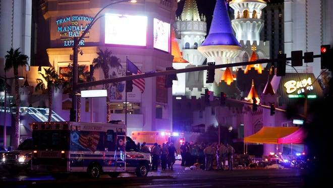Aftermath of mass shooting in Las Vegas on Oct. 1, 2017.