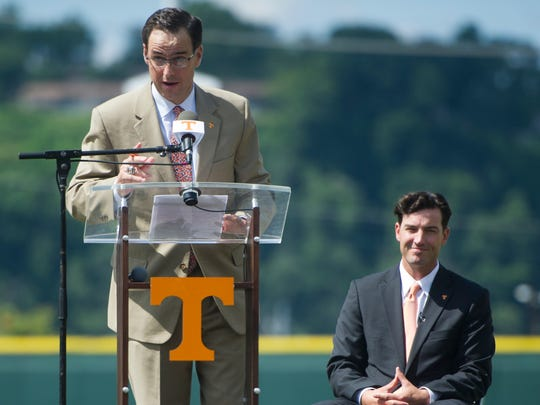 At left John Currie, Tennessee vice chancellor and director of athletics announces new University of Tennessee Baseball Head Coach Tony Vitello at a press conference introducing him to the media, at Lindsey Nelson Stadium on Friday June 9, 2017.