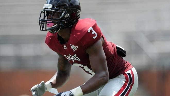 Cornerback Tray Hall during the Troy University football scrimmage in Troy, Ala. on Saturday August 9, 2014.