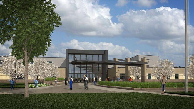 A rendering of the future Liberty High School, for which the Iowa City Community School District broke ground on Tuesday. The district will build the roughly $75 million high school in three phases, with the first scheduled for completion in 2017.