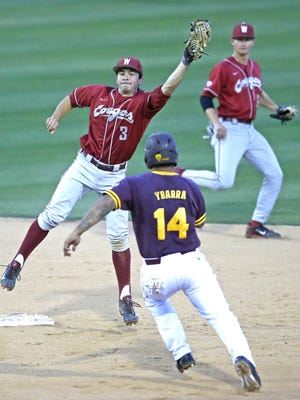 Washington State infielder Shea Donlin gets an out on Arizona State baserunner RJ Ybarra at second base during the fifth inning at Phoenix Municipal Stadium in Phoenix on May 15, 2015.
