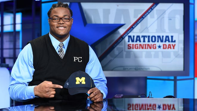 Rashan Gary announcing his commitment during National Signing Day on the set of SportsCenter.
