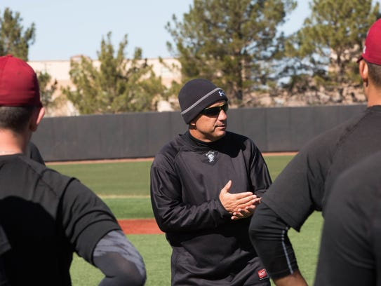 NMSU head baseball Brian Green and the Aggies opened practice for the 2018 season on Friday at Presley Askew Field.