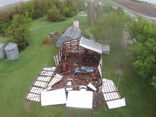 A machine shed was partially destroyed five miles south of Valley Springs after storms tore through Sunday.