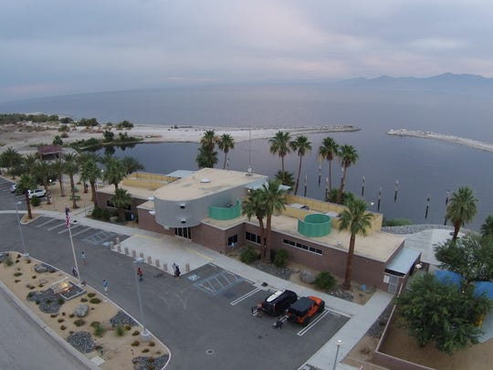 Aerial drone view of Randy Brown starting out on his 116-mile trek around the Salton Sea. Tuesday, June 9, 2015. The North Shore Yacht and Beach Club is seen in photo.