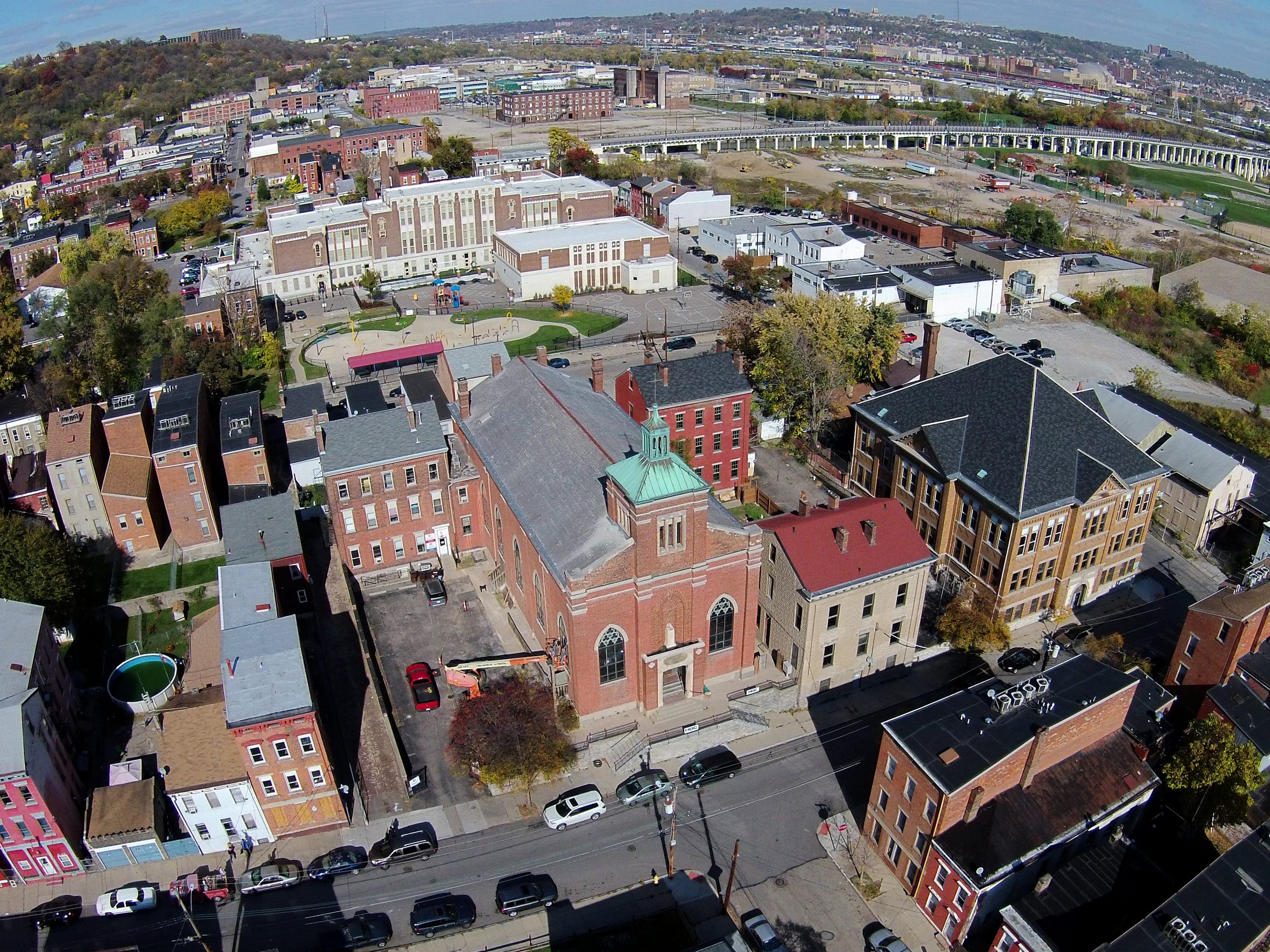 Lower Price Hill, in the foreground, is viewed from