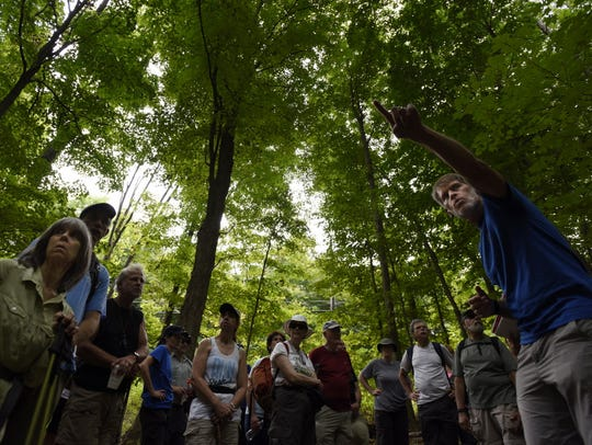 Don Weise (right) leads a hike for the New York-New