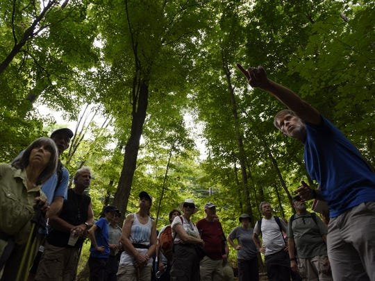 Don Weise (right) leads a hike for the New York-New Jersey Trail Conference to celebrate the group's 95th anniversary.