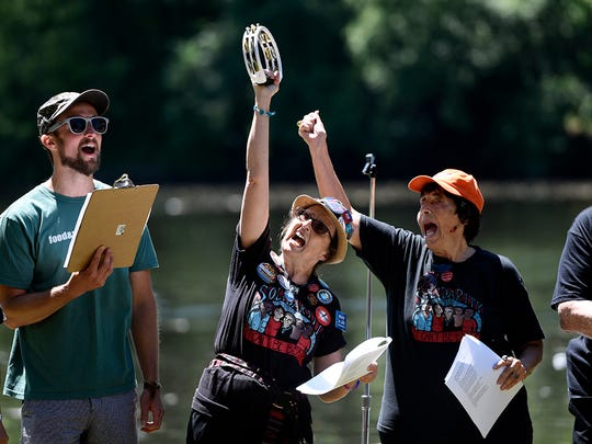 Matt Smith, left, of Food & Water Watch performs Sunday with Solidarity Singers Diane Beeny and Mary Ellen Marino during a rally in Mahwah protesting the Pilgrim Pipelines.