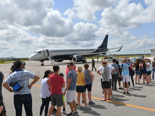 Saturday at Atlantic Jet Center at the Orlando Melbourne International Airport, where volunteers, including alumni from College of Aeronautics at Florida Tech, students from F.I.T. Aviation, and others load up an huge Embraer Lineage 1000E loaned by filmmaker Tyler Perry to bring supplies to Puerto Rico's Hurricane Maria victims.