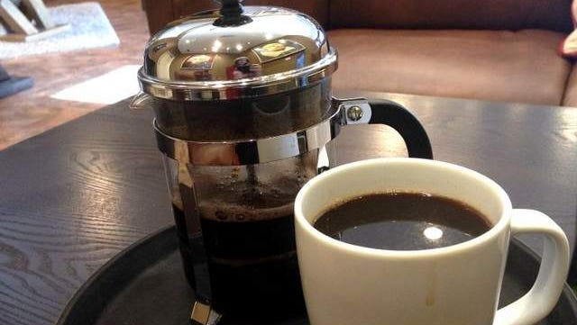 Press for One ($3), a 16-ounce French press pot of Cafe Del Sol's Peruvian coffee, at Press Coffee Co. in Coralville.