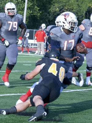 Ottawa University senior linebacker Colby Johnson was selected the KCAC Defensive Player of the Week after his 14 tackle performance in the season opener. [PHOTO BY GREG MAST/THE OTTAWA HERALD].