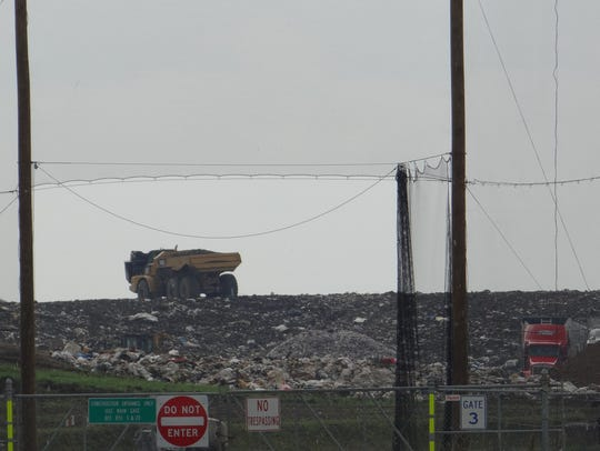Newly deposited trash at Seneca Meadows Landfill.