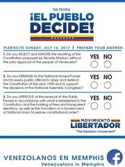 Voters in Sunday's unofficial plebiscite could answer yes or no to three questions.