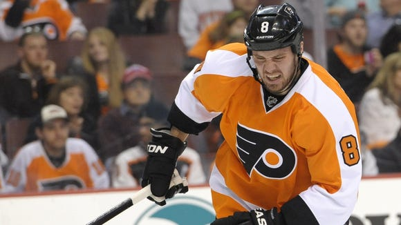 Grossmann left in the second period with an injury to his right leg.