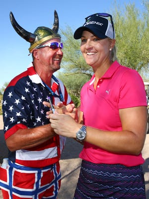 Anna Nordqvist is congratulated by a fan after shooting an 11-under-par 61 in the round 3 at the Bank of Hope Founders Cup on Mar. 18, 2017 at Wildfire Golf Club at JW Marriott Desert Ridge Resort & Spa in Phoenix, Ariz.