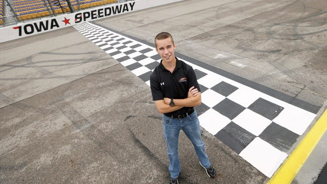 NASCAR Xfinity Series rookie Ben Rhodes poses for a photo Saturday at the Iowa Speedway, where he'll debut Sunday for JR Motorsports.
