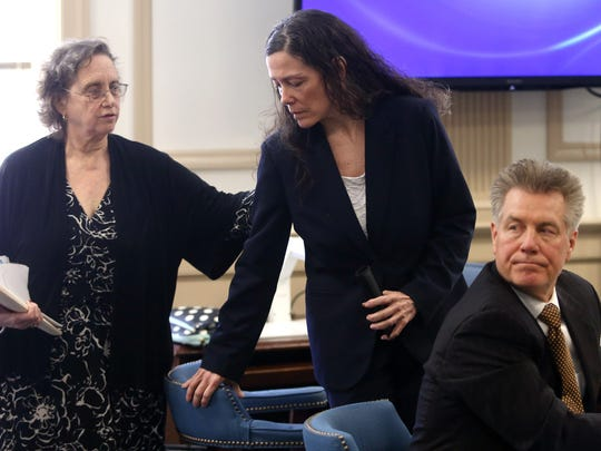 Defense attorney Sara Sencer-McArdle, l, calls former Wharton elementary school teacher Virginia Vertetis to the stand to testify as defense attorney Edward Bilinkas looks on in Morris County Superior Court. Vertetis says she fatally shot boyfriend Patrick Gilhuley to death as he tried to beat and choke her at her Mount Olive home. March 22, 2017, Morristown, NJ