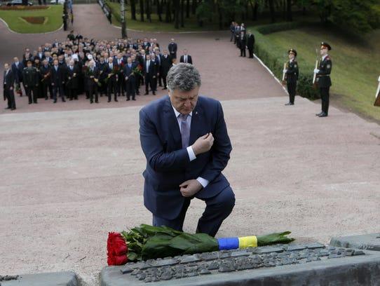 Ukrainian President Petro Poroshenko attends a ceremony