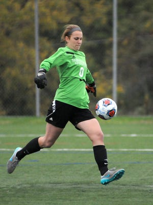 Shippensburg goalie Leah Roy, a Spring Grove graduate, punts the ball during a recent game.