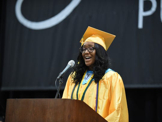 Giving the keynote speech during Harrison High School commencement is class president Jayla Meeks.