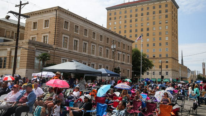 Fans gather on Oakes Street to enjoy the Simply Texas Blues Festival Saturday, May 20, 2017, in downtown San Angelo.