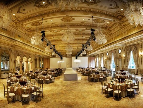 The lavish Mar-a-Lago ballroom that Trump built at a cost of $9 million after acquiring the former Marjorie Merriweather Post estate. His and Donald J. Trump Jr.'s wedding receptions were held here 11 months apart.