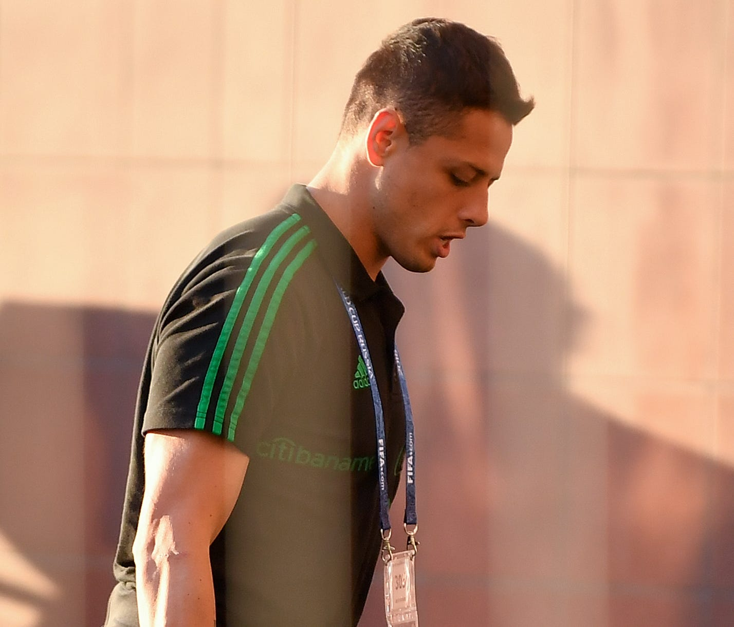Mexico's Javier Hernandez of Mexico arrives at a hotel in Samara on Saturday.