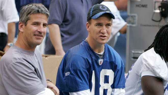 Indianapolis Colts quarterback Peyton Manning, right, talks with former Buffalo Bills quarterback Frank Reich as the football team practiced for the first time in the new Lucas Oil Stadium in Indianapolis, Tuesday, Aug. 19, 2008. This was the first appearance of Manning with the team since have surgery on his left knee on July 14. (AP Photo/Michael Conroy)