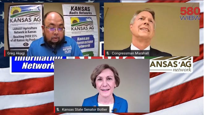 Republican U.S. Rep. Roger Marshall (top right) and Democratic state Sen. Barbara Bollier (bottom) squared off in the first U.S. Senate debate Saturday