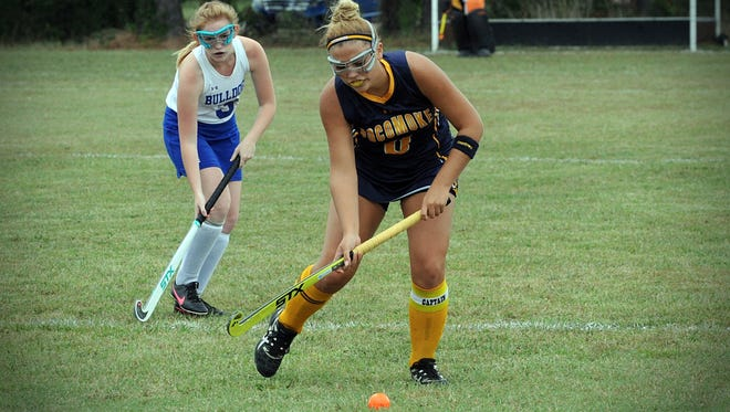 Pocomoke forward Kasey Lee controls the ball against North Caroline on Wednesday, Sept. 21, 2016 in Ridgely.