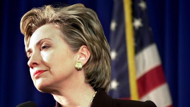 Hillary Clinton at a New York press conference in 1999.