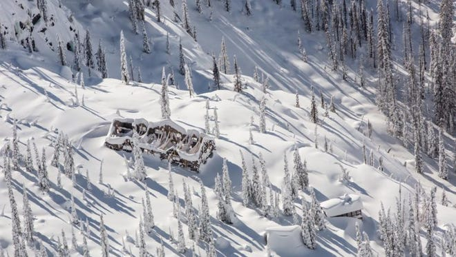 The stone walls of Sperry Chalet appeared to be stable during a February flyover. The Glacier National park Conservancy plans to another flyover in March and April to monitor the building's structure.